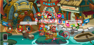 As you can see i have circled all penguins. Try to aim for not going where there is a lot of penguins plus if the room is too cluttered move into another room!